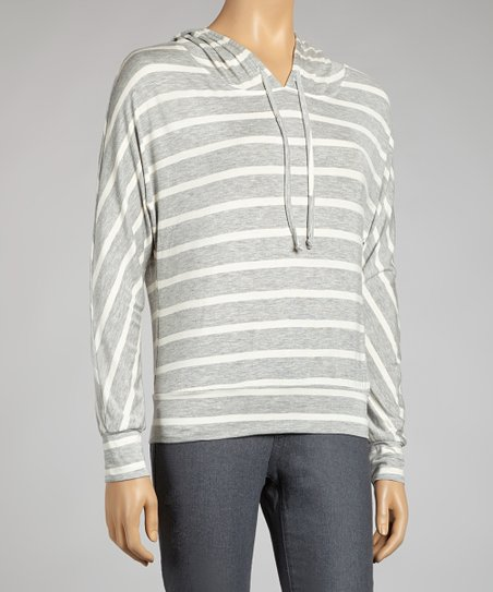 Heather Gray & White Stripe Hoodie