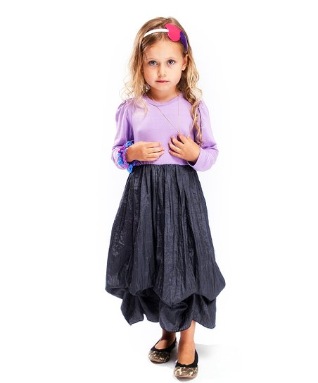 Lavender & Gray Long-Sleeve Infinity Dress - Girls