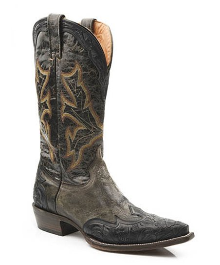 Black Wingtip Cowboy Boot - Men