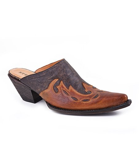 Distressed Black & Cognac Overlay Mule - Women