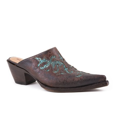 Brown & Turquoise Crackle Python Mule - Women