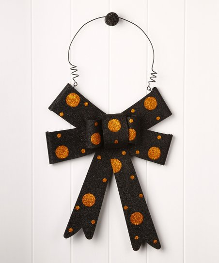 Orange & Black Bow Wall Decoration
