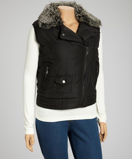 Black Asymmetrical Zip Fur Trim Puffer Vest