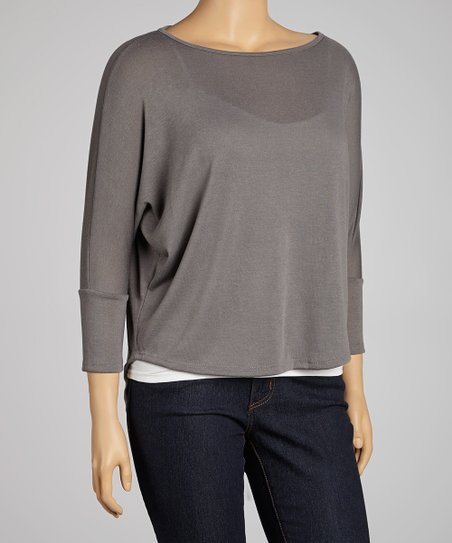 Gray Three-Quarter Sleeve Hi-Low Top - Plus