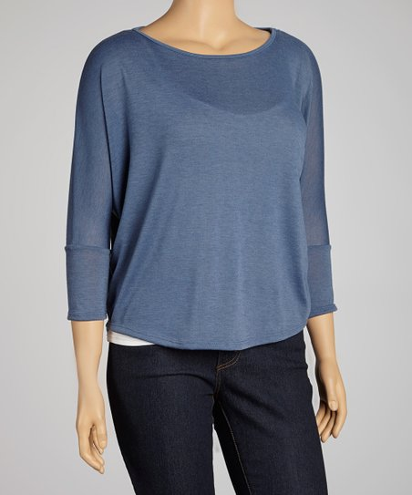 Blue Three-Quarter Sleeve Hi-Low Top - Plus
