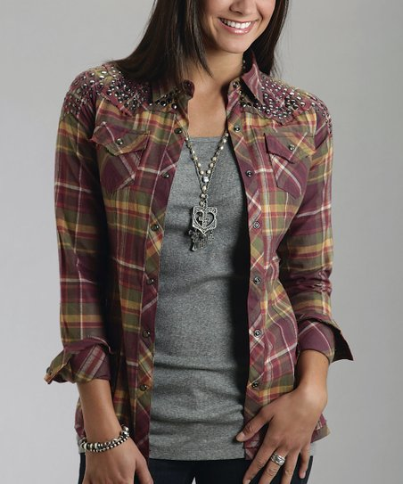 Purple Plaid Studded Button-Up - Women