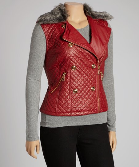 Royal Red Quilted Faux Fur Collar Vest - Plus