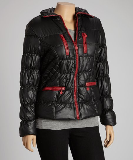 Black & Red Puffer Jacket - Plus