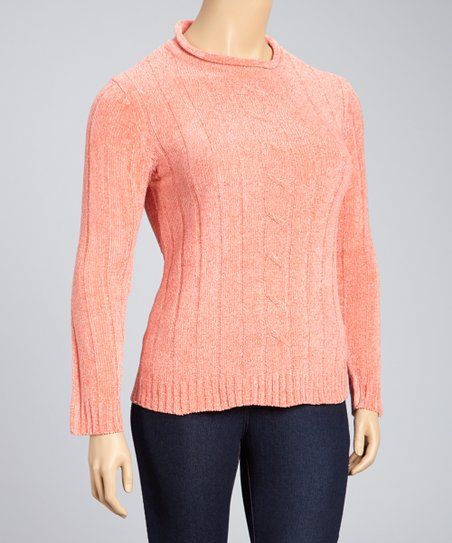 Coral Ribbed Cable-Knit Sweater - Plus