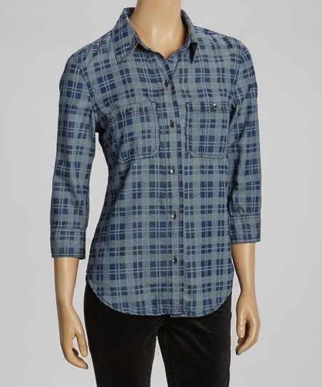 Boston Plaid Denim Button-Up