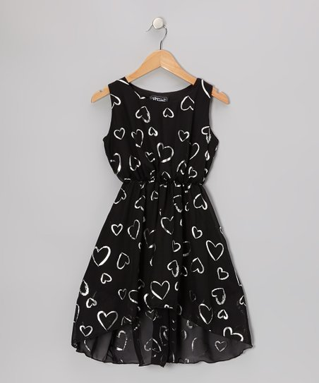 Black Hearts Sleeveless Hi-Low Dress