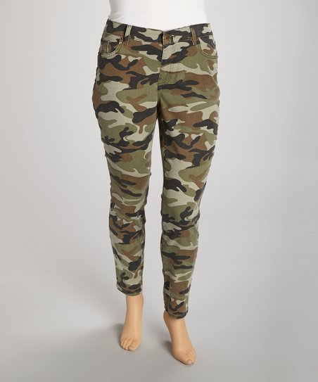 Green Camo Straight-Leg Jeans - Plus