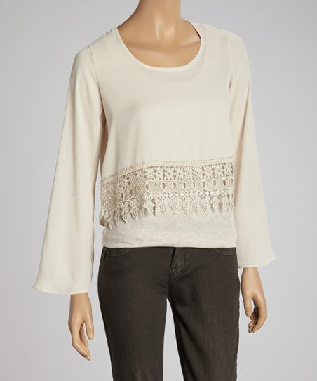 Natural Scoop Neck Lace-Hem Top