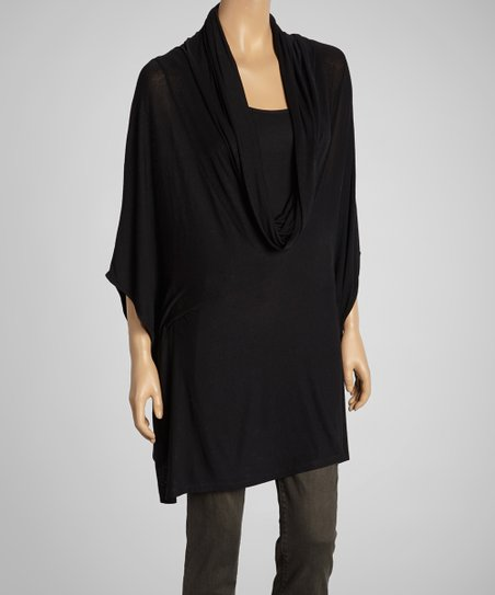 Black Cowl Neck Cape-Sleeve Top