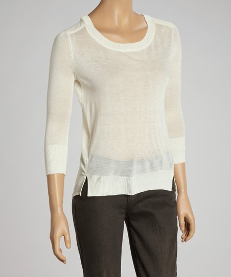 Natural Three-Quarter Sleeve Hi-Low Top