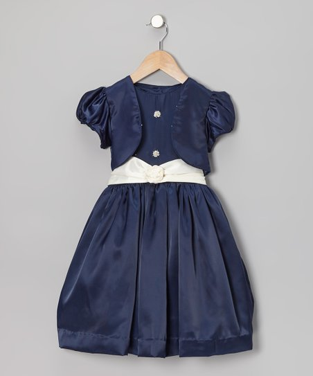 Navy Blue Party Dress & Vest - Toddler & Girls