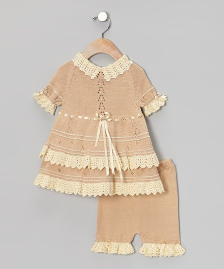 Sand & Vanilla Crochet Bolero Dress & Bloomers - Infant