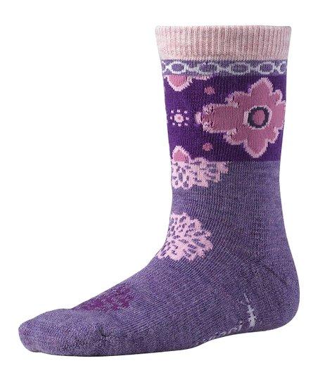 Lavender Heather Kilim Patchwork Wool-Blend Socks - Kids
