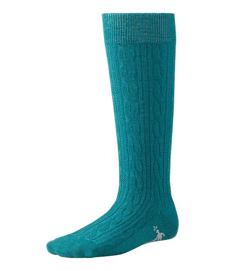 Teal Cable Knee-High Wool-Blend Socks - Kids