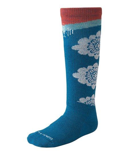 Arctic Blue Wintersport Floral Wool-Blend Socks