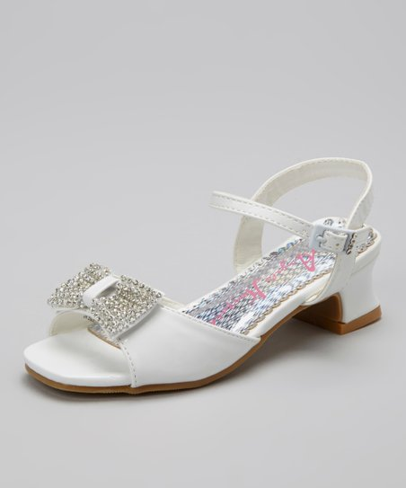 White Sparkling Bow Open-Toe Shoe