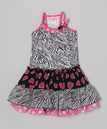 Pink Heart & Zebra Tiered Ruffle Dress - Toddler & Girls