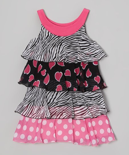 Pink Heart & Zebra Yoke Dress - Toddler & Girls