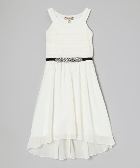 Ivory Rhinestone Yoke Dress