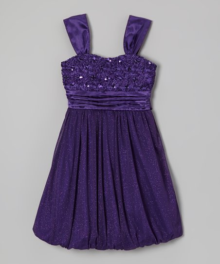 Purple Glitter Ribbon Bubble Dress