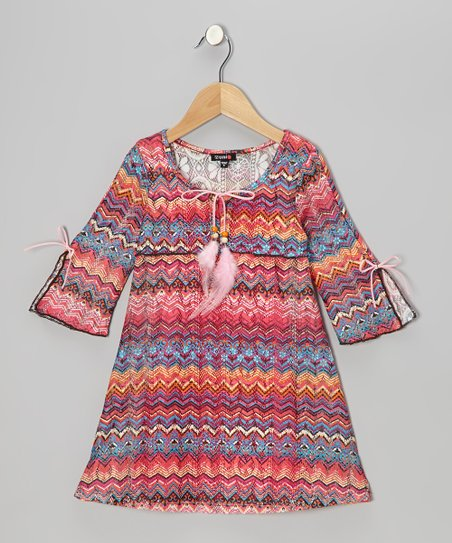 Coral Zigzag Crocheted Dress - Girls