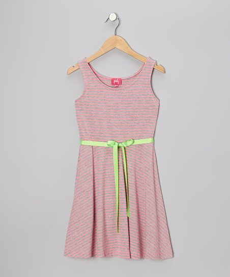 Neon Pink & Gray Stripe Skater Dress - Girls