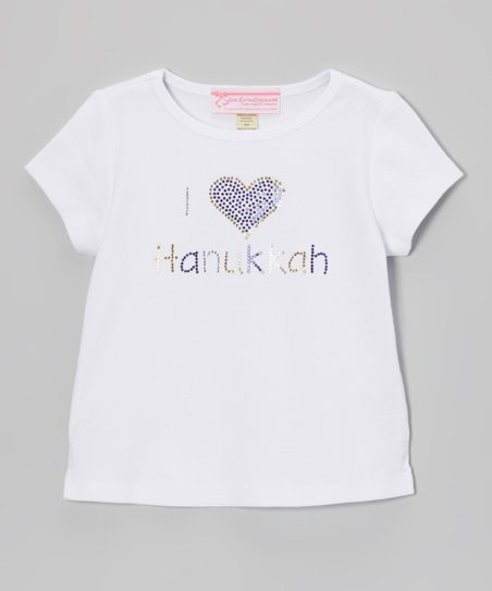 White 'I Love Hanukkah' Cap-Sleeve Tee - Girls