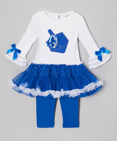 Blue Dreidel Tutu Dress & Leggings - Infant, Toddler & Girls
