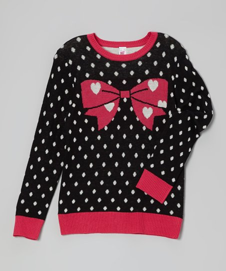 Black & Pink Polka Dot Bow Sweater
