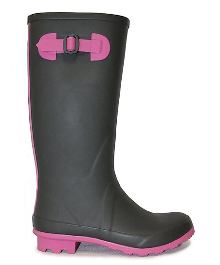 Black & Pink Midas Rain Boot