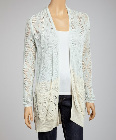 Sky Natural Crochet Open Cardigan