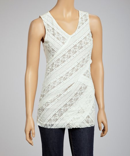 Taupe & Off-White Laced V-Neck Sleeveless Top