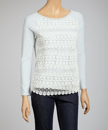 Blue & Cream Lace Stripe Top