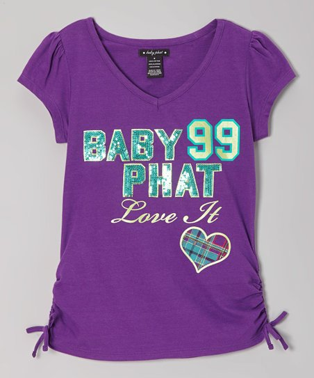 Royal Purple 'Love It' V-Neck Tee - Toddler & Girls