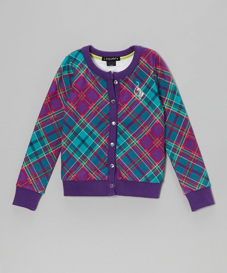 Royal Purple Plaid Cardigan - Toddler & Girls