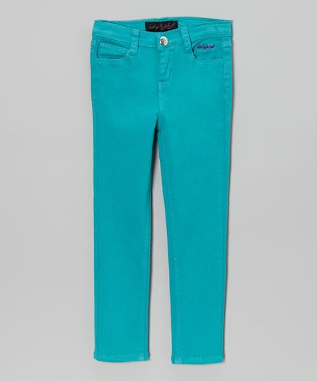 Dark Turquoise Embellished Twill Pants - Girls