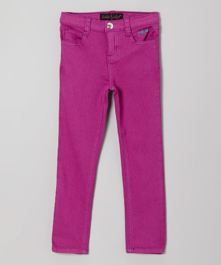 Royal Purple Embellished Twill Pants - Toddler & Girls