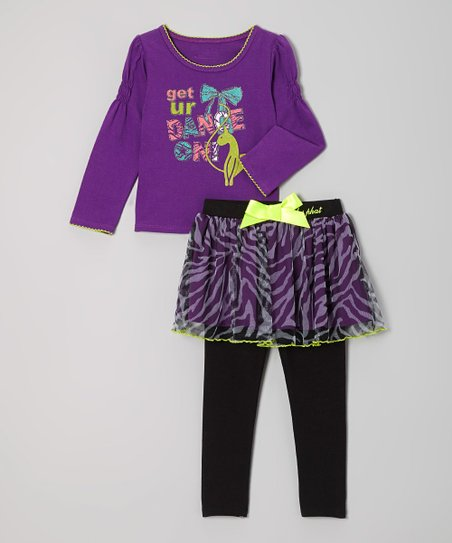 Royal Purple 'Dance' Stop & Skirted Leggings - Infant & Toddler