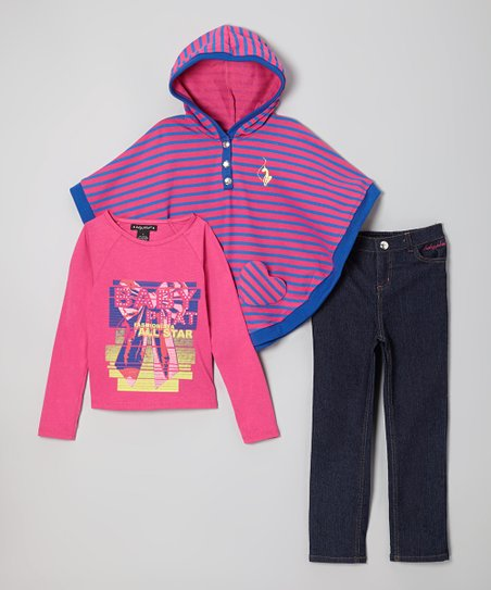Pink Stripe Cape Set - Infant & Toddler