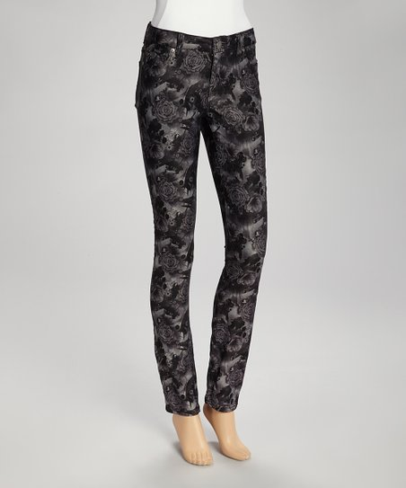 Gray Floral Jeggings