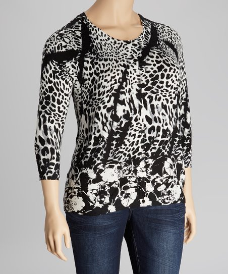 Black & White Leopard Three-Quarter Sleeve Cardigan - Plus