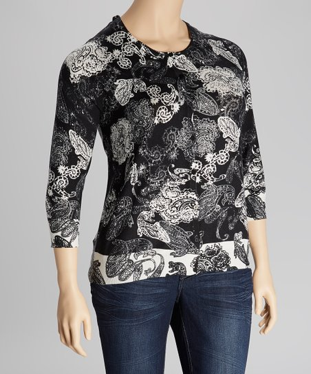 Black & White Paisley Three-Quarter Sleeve Cardigan - Plus