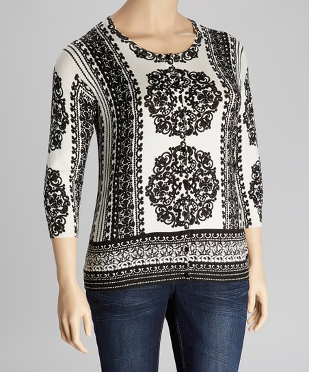 Black & Ivory Jewel Scroll Three-Quarter Sleeve Cardigan - Plus