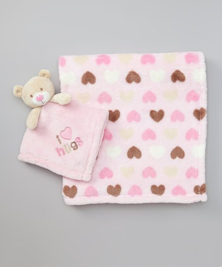 Pink & Brown Heart Plush Pal Blanket Set