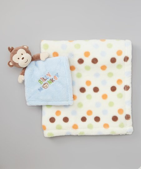 Blue & Brown Polka Dot Plush Pal Blanket Set